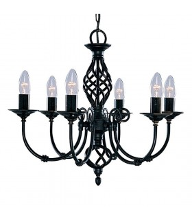 Zanzibar Black Six Light Pendant - Searchlight 3379-6