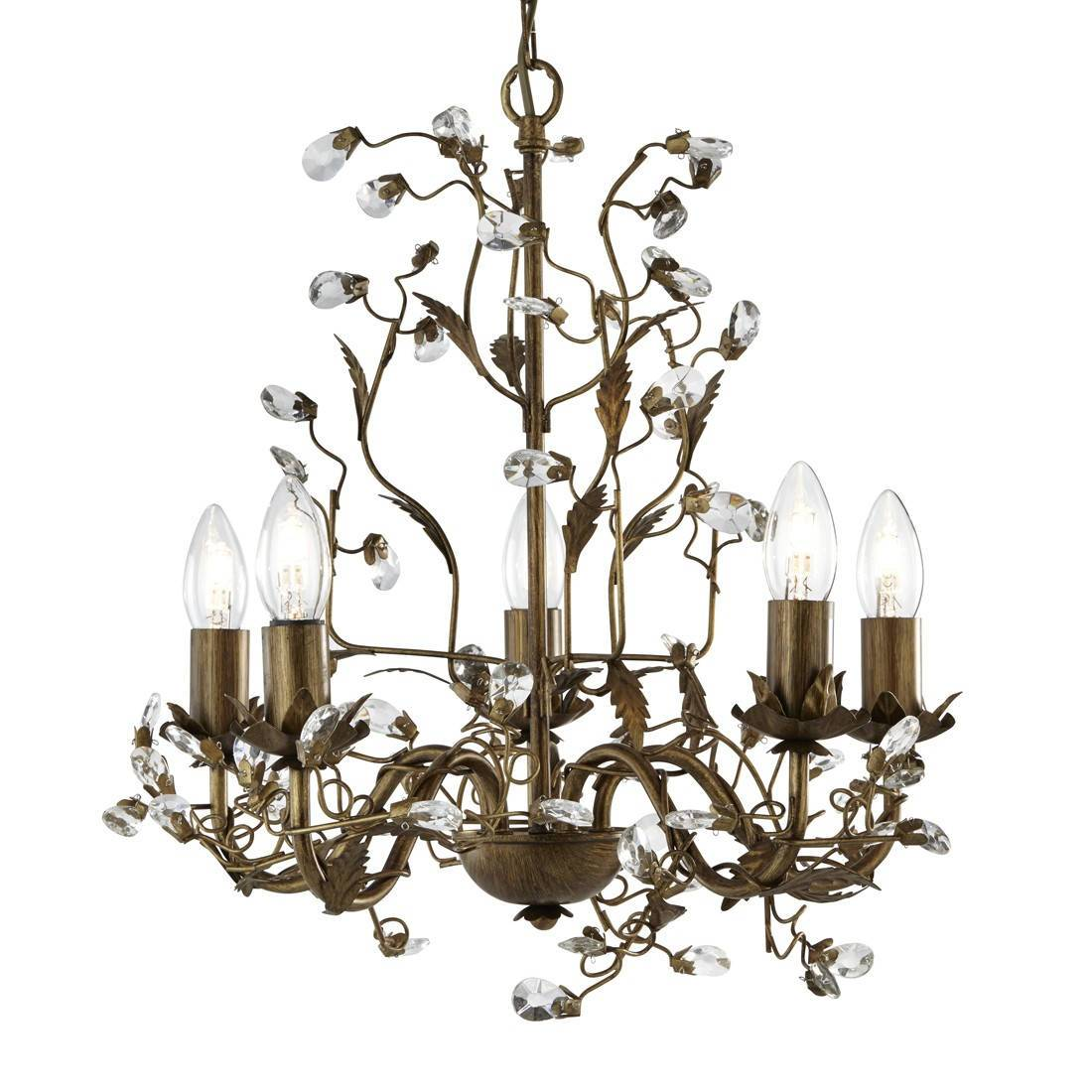 5 Light Multi Arm Ceiling Pendant Floral Leaves Brown Gold With Crystals, E14