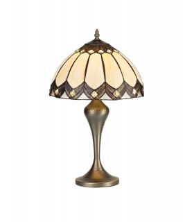 Tiffany Table Lamp, 1 x E27, Aged Antique Brass Base, Brown Glass, Clear Crystal