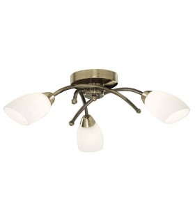 Opera Antique Brass And Opal Glass Three Light Flush Fitting - Searchlight 8183-3AB