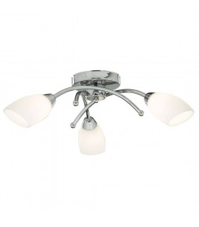 Opera Chrome And Opal Glass Three Light Flush Fitting - Searchlight 8183-3CC