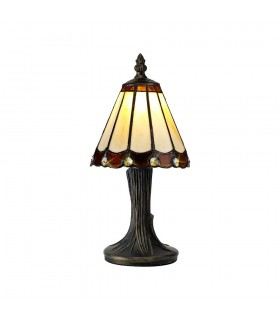 Tiffany Table Lamp, 1 x E14, Brown, Clear Crystal Shade