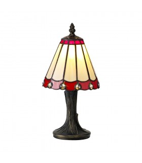 Tiffany Table Lamp, 1 x E14, Red, Clear Crystal Shade