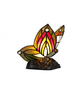 Tiffany Butterfly Table Lamp, 1 x E14, Black Base With Green, Red Glass With Clear Crystal