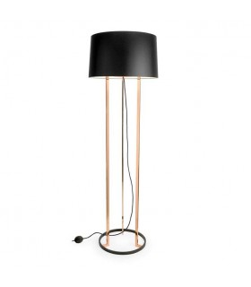 Black And Copper Floor Lamp With Black Fabric Shade