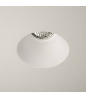 1 Light Round Recessed Spotlight Plaster, White