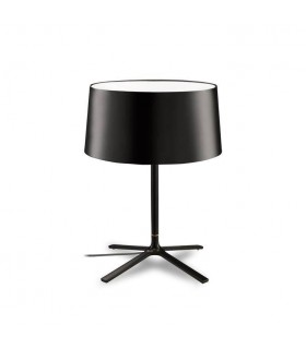 Black Table Lamp With Black Fabric Shade