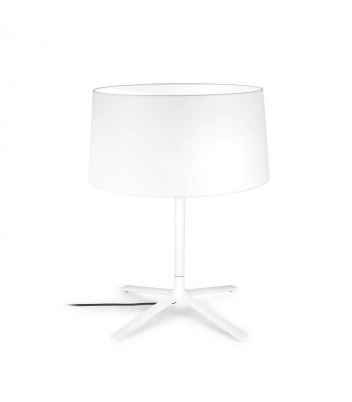 Hall White Table Lamp With White Fabric Shade - GROK 10-1940-BW-T007
