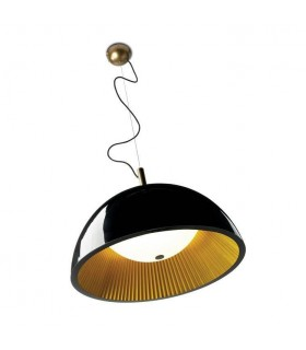 3 Light Small Dome Ceiling Pendant Black, Gold