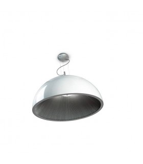 3 Light Small Dome Ceiling Pendant Silver, White