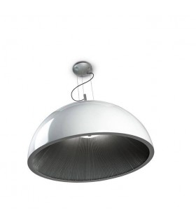 3 Light Large Dome Ceiling Pendant Silver, White