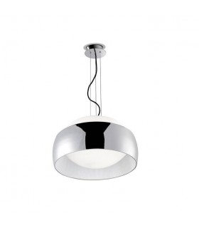 1 Light Ceiling Pendant Chrome with Opal Glass Diffuser, E27