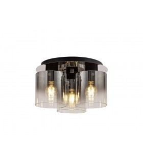 Round Ceiling Flush, 3 Light Flush Fitting, Black, Smoke Fade Glass