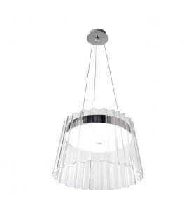 1 Light Dome Ceiling Pendant Chrome with Clear Shade
