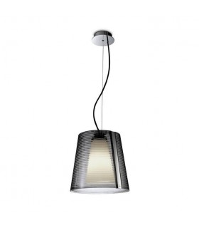 1 Light Dome Ceiling Pendant Chrome, Acrylic with Smoked Diffuser