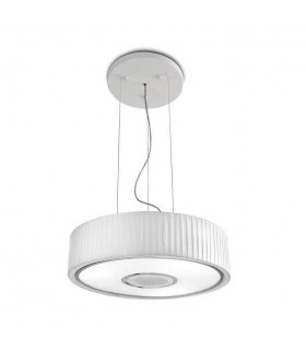 Chrome Ceiling Pendant With White Fabric Shade