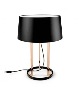 Black And Copper Table Lamp With Fabric Shade