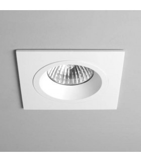 1 Light Square Recessed Spotlight White, Fire Rated