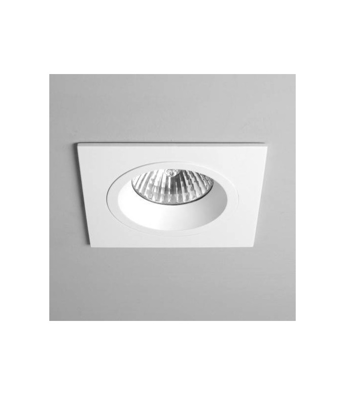 1 Light Square Recessed Spotlight White, Fire Rated, GU10