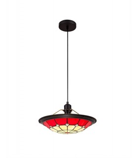 1 Light Ceiling Pendant E27 With 35cm Tiffany Shade, Red, Clear Crystal Centre, Aged Antique Brass Trim, Black