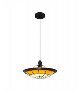 1 Light Ceiling Pendant E27 With 35cm Tiffany Shade, Beige, Clear Crystal Centre, Aged Antique Brass Trim, Black