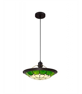 1 Light Ceiling Pendant E27 With 35cm Tiffany Shade, Green, Clear Crystal Centre, Aged Antique Brass Trim, Black