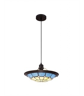 1 Light Ceiling Pendant E27 With 35cm Tiffany Shade, Rich Blue, Clear Crystal Centre, Aged Antique Brass Trim, Black