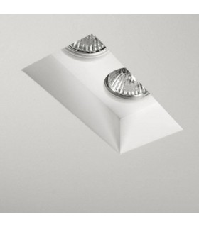 2 Light Twin Recessed Ceiling Spotlight Plaster