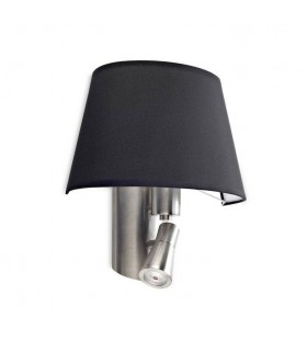 1+1 Light Indoor Wall Lamp Satin Nickel with Black Shade, E27