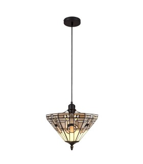 1 Light Uplighter Ceiling Pendant E27 With 30cm Tiffany Shade, White, Grey, Black, Clear Crystal