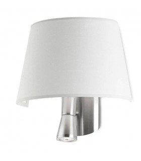 1+1 Light Indoor Wall Lamp Satin Nickel with White Shade