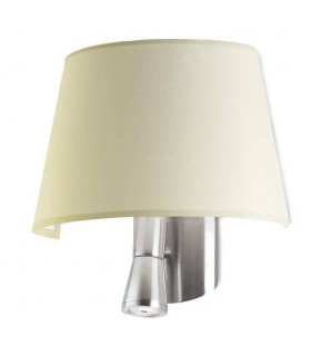 1+1 Light Indoor Wall Lamp Satin Nickel with Beige Shade