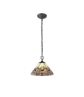 2 Light Downlighter Ceiling Pendant E27 With 30cm Tiffany Shade, White, Grey, Black, Clear Crystal, Aged Antique Brass