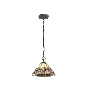 3 Light Downlighter Ceiling Pendant E27 With 30cm Tiffany Shade, White, Grey, Black, Clear Crystal, Aged Antique Brass