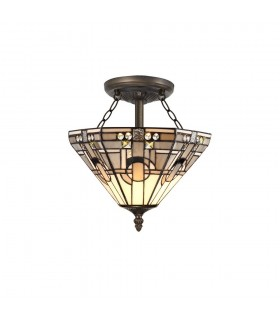 2 Light E27 Semi Flush Ceiling With Tiffany Shade 30cm Shade, White, Grey, Black, Clear Crystal, Aged Antique Brass