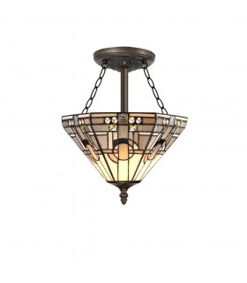 3 Light E27 Semi Flush Ceiling With Tiffany Shade 30cm Shade, White, Grey, Black, Clear Crystal, Aged Antique Brass