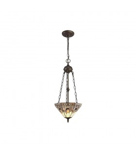 2 Light Uplighter Ceiling Pendant E27 With 30cm Tiffany Shade, White, Grey, Black, Clear Crystal, Aged Antique Brass