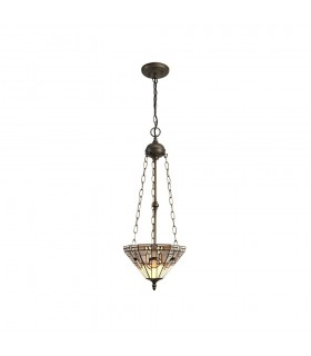 3 Light Uplighter Ceiling Pendant E27 With 30cm Tiffany Shade, White, Grey, Black, Clear Crystal, Aged Antique Brass