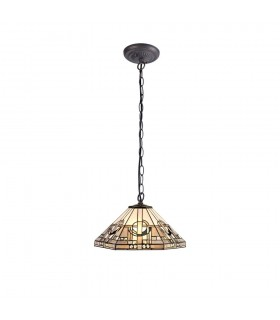 1 Light Downlighter Ceiling Pendant E27 With 40cm Tiffany Shade, White, Grey, Black, Clear Crystal, Aged Antique Brass