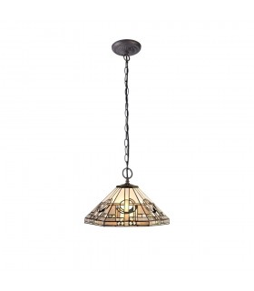 2 Light Downlighter Ceiling Pendant E27 With 40cm Tiffany Shade, White, Grey, Black, Clear Crystal, Aged Antique Brass