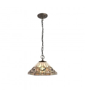 3 Light Downlighter Ceiling Pendant E27 With 40cm Tiffany Shade, White, Grey, Black, Clear Crystal, Aged Antique Brass