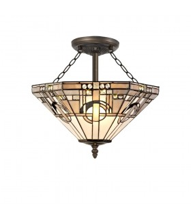 3 Light E27 Semi Flush Ceiling With Tiffany Shade 40cm Shade, White, Grey, Black, Clear Crystal, Aged Antique Brass