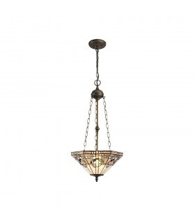 3 Light Uplighter Ceiling Pendant E27 With 40cm Tiffany Shade, White, Grey, Black, Clear Crystal, Aged Antique Brass