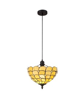 1 Light Uplighter Ceiling Pendant E27 With 30cm Tiffany Shade, Beige, Clear Crystal, Black