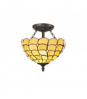 2 Light Semi Flush Ceiling E27 With 30cm Tiffany Shade, Beige, Clear Crystal, Aged Antique Brass