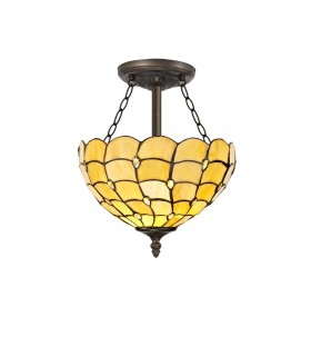 3 Light Semi Flush Ceiling E27 With 30cm Tiffany Shade, Beige, Clear Crystal, Aged Antique Brass