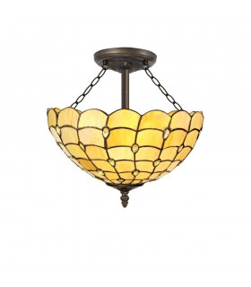 3 Light Semi Flush Ceiling E27 With 40cm Tiffany Shade, Beige, Clear Crystal, Aged Antique Brass