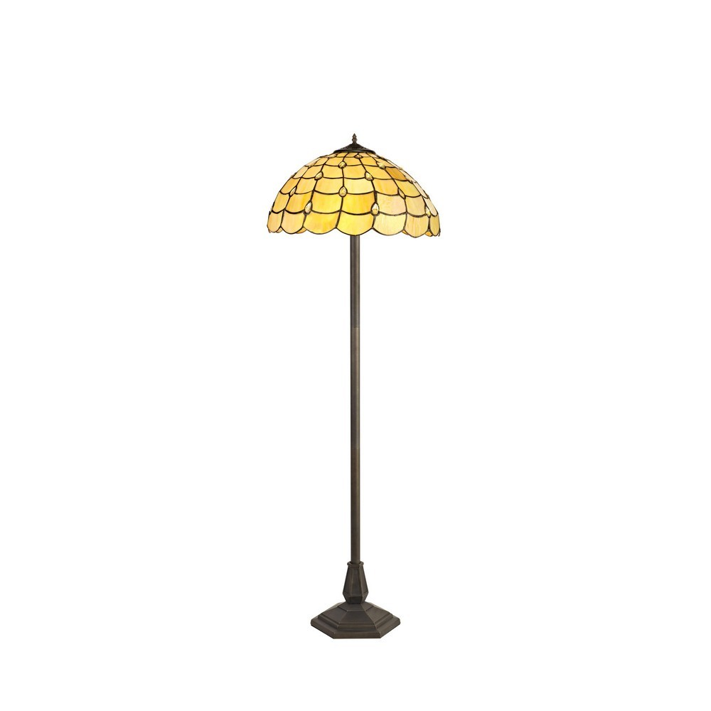 2 Light Octagonal Floor Lamp E27 With 40Cm Tiffany Shade, Beige, Clear Crystal, Aged Antique Brass