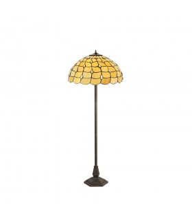 2 Light Octagonal Floor Lamp E27 With 50cm Tiffany Shade, Beige, Clear Crystal, Aged Antique Brass