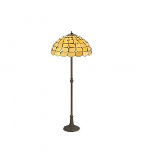 2 Light Leaf Design Floor Lamp E27 With 50cm Tiffany Shade, Beige, Clear Crystal, Aged Antique Brass
